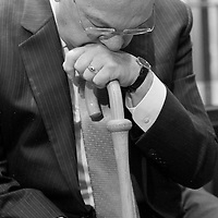 Mayor Thomas Menino becomes emotional during goodbyes at Boston City Hall, Monday, January 06, 2014.