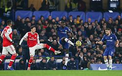 Antonio Rudiger of Chelsea gets to the ball ahead of Mesut Ozil of Arsenal - Mandatory by-line: Arron Gent/JMP - 21/01/2020 - FOOTBALL - Stamford Bridge - London, England - Chelsea v Arsenal - Premier League