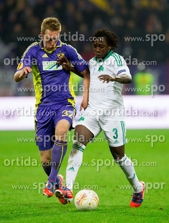 Robert Beric of NK Maribor vs Ibrahim Sissoko of Panathinaikos during football match between NK Maribor and Panathinaikos Athens F.C. (GRE) in 1st Round of Group Stage of UEFA Europa league 2013, on September 20, 2012 in Stadium Ljudski vrt, Maribor, Slovenia. Maribor defeated Panathinaikos 3-0. (Photo By Vid Ponikvar / Sportida)