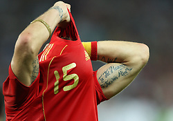 Sergio Ramos of Spain (15) taking off his jersey after the UEFA EURO 2008 Quarter-Final soccer match between Spain and Italy at Ernst-Happel Stadium, on June 22,2008, in Wien, Austria. Spain won after penalty shots 4:2. (Photo by Vid Ponikvar / Sportal Images)