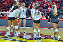 BLOOMINGTON, IL - October 12: Ali Line during a college Women's volleyball match between the ISU Redbirds and the Valparaiso Crusaders on October 12 2018 at Illinois State University in Bloomington, IL. (Photo by Alan Look)