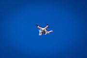 Drone camera flying over the Amgen Tour of California, Santa Monica Mountains, California USA
