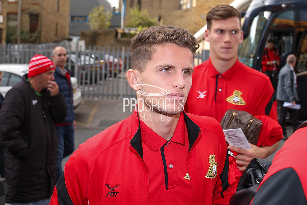 Doncaster Rovers midfielder Jordan Houghton (16), on loan from Chelsea, arrives  during the EFL Sky Bet League 1 match between Bradford City and Doncaster Rovers at the Northern Commercials Stadium, Bradford, England on 30 September 2017. Photo by Simon Davies.