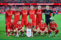 ADELAIDE, AUSTRALIA - Monday, July 20, 2015: Liverpool's players line up for a team group photograph before a preseason friendly match against Adelaide United at the Adelaide Oval on day eight of the club's preseason tour. Back row L-R: Divock Origi, Jordon Ibe, Joe Gomez, Dejan Lovren, Martin Skrtel, goalkeeper Simon Mignolet. Front row L-R: Adam Lallana, James Milner, captain Jordan Henderson, Joe Allen, Nathaniel Clyne. (Pic by David Rawcliffe/Propaganda)