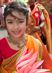 ©under licence to London News Pictures. Baishakhi Mela, the Bangladeshi community celebrate the Bengali New Year in Brick Lane, Banglatown, London with a parade. In this picture: Nandini, 6, from East London. Photo credit should read Bettina Strenske/LNP.