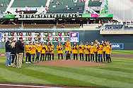 Members of the 2012-2013 undefeated national champion University of Minnesota women's hockey team were honored prior to the game between the Minnesota Twins and Los Angeles Angels on April 16, 2013 at Target Field in Minneapolis, Minnesota.  The Twins defeated the Angels 8 to 6.  Photo: Ben Krause