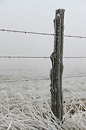 A fence post near Burns, Wyoming, on Friday, Feb. 9, 2018.
