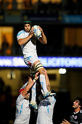 Worcester Lock (#5) Mariano Galarza wins a lineout during the first half of the match - Photo mandatory by-line: Rogan Thomson/JMP - Tel: Mobile: 07966 386802 - 05/12/2013 - SPORT - RUGBY UNION - Sixways Stadium - Worcester Warriors v Biarritz Olympique Pays Basque - Amlin Challenge Cup Pool 1.