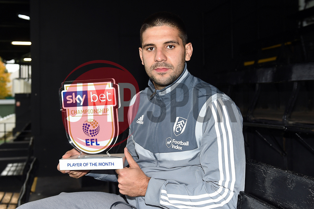 Aleksandar Mitrovic of Fulham wins the Sky Bet Championship Player of the Month award - Mandatory by-line: Patrick Khachfe/JMP - 06/11/2019 - FOOTBALL - Fulham FC Training Ground - London, England - Sky Bet Player of the Month Award
