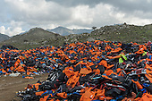 Life Jackets Left By Refugees On Lesbos
