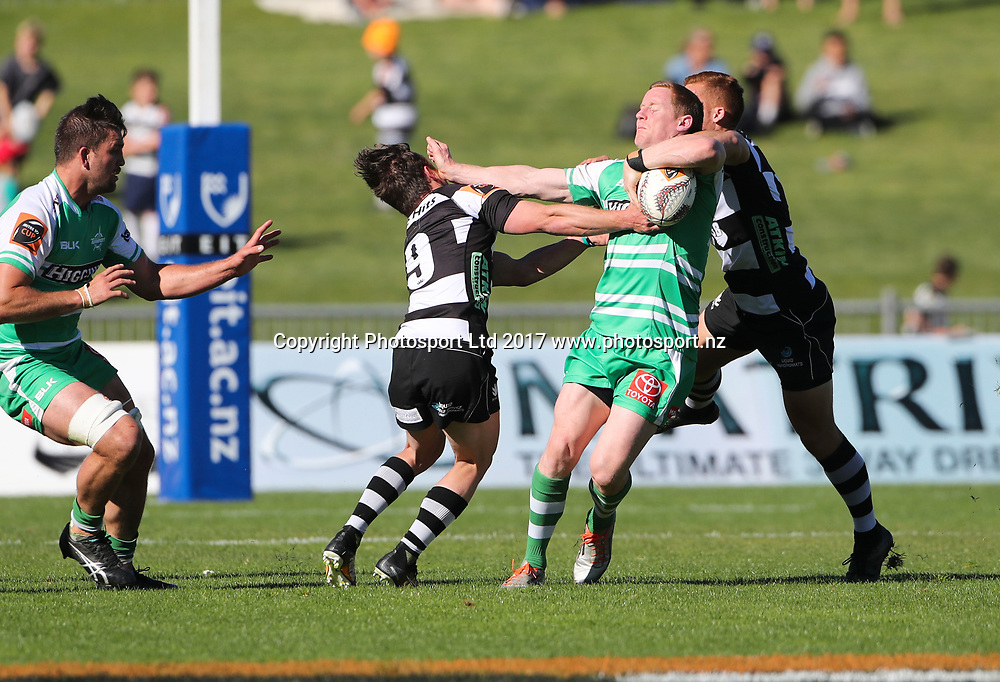 Manawatu's Hamish Northcott is caught around the neck by Ihaia West.  Hawkes Bay Magpies v  Manawatu Turbos, Mitre10 Cup, Napier, New Zealand. Sunday, 15 October, 2017. Copyright photo: John Cowpland / www.photosport.nz