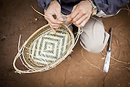 Making a Bamboo Basket in Ban Don Northern Laos South East Asia