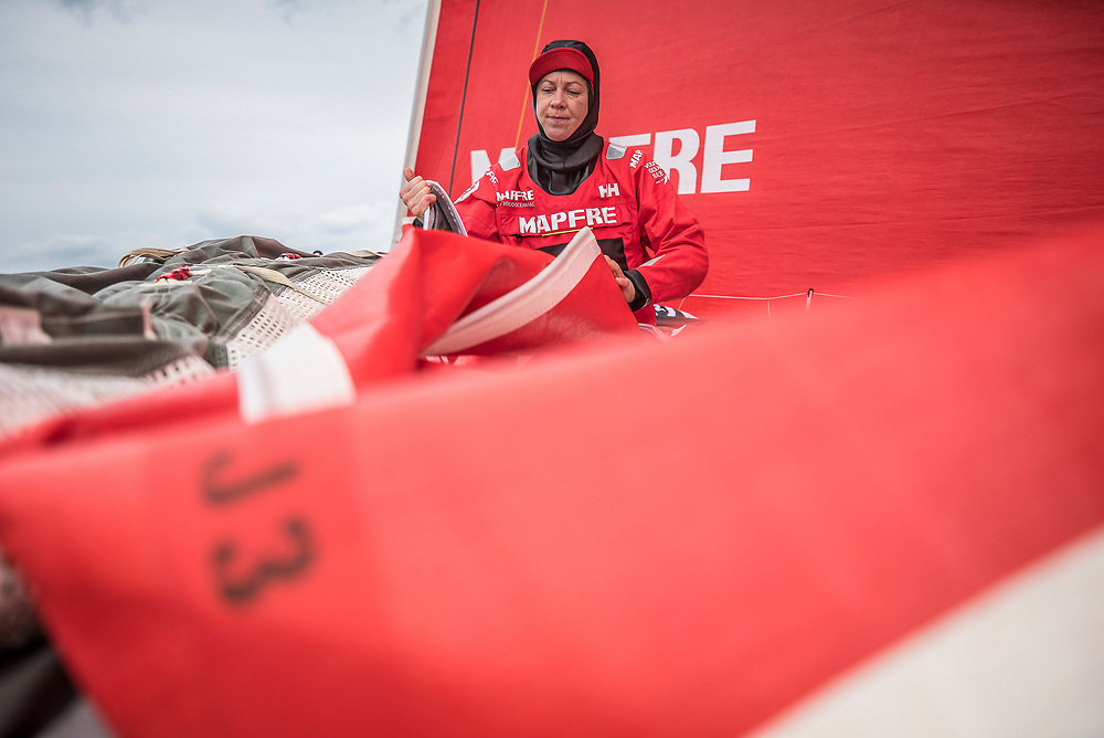 Leg 6 to Auckland, day 02 on board MAPFRE, Sophie Ciszek paking the J3. 08 February, 2018.