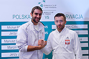 (L) Marin Cilic of Croatia &amp; (R) Michal Przysiezny of Poland  while official draw at Regent Hotel one day before the BNP Paribas Davis Cup 2014 between Poland and Croatia at Torwar Hall in Warsaw on April 3, 2014.<br /> <br /> Poland, Warsaw, April 3, 2014<br /> <br /> Picture also available in RAW (NEF) or TIFF format on special request.<br /> <br /> For editorial use only. Any commercial or promotional use requires permission.<br /> <br /> Mandatory credit:<br /> Photo by &copy; Adam Nurkiewicz / Mediasport