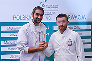 (L) Marin Cilic of Croatia & (R) Michal Przysiezny of Poland  while official draw at Regent Hotel one day before the BNP Paribas Davis Cup 2014 between Poland and Croatia at Torwar Hall in Warsaw on April 3, 2014.<br /> <br /> Poland, Warsaw, April 3, 2014<br /> <br /> Picture also available in RAW (NEF) or TIFF format on special request.<br /> <br /> For editorial use only. Any commercial or promotional use requires permission.<br /> <br /> Mandatory credit:<br /> Photo by © Adam Nurkiewicz / Mediasport
