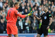 Zdenek Zlamal disagrees with ref Willie Collum's penalty award to Celtic during the Betfred Semi-Final Cup match between Heart of Midlothian and Celtic at Murrayfield, Edinburgh, Scotland on 28 October 2018.