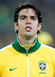 Kaka of Brazil singing national anthem during the 2010 FIFA World Cup South Africa Group G Second Round match between Brazil and République de Côte d'Ivoire on June 20, 2010 at Soccer City Stadium in Soweto, suburban Johannesburg, South Africa.  Brazil defeated Ivory Coast 3-1. (Photo by Vid Ponikvar / Sportida)
