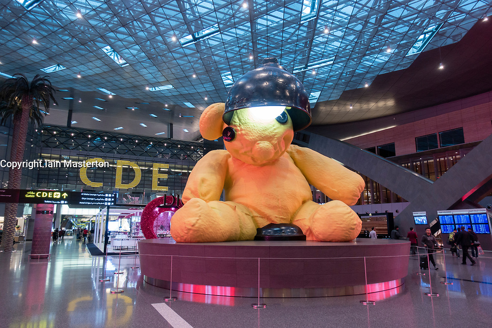 View of large sculpture in terminal building of new Hamad International Airport in Doha, Qatar