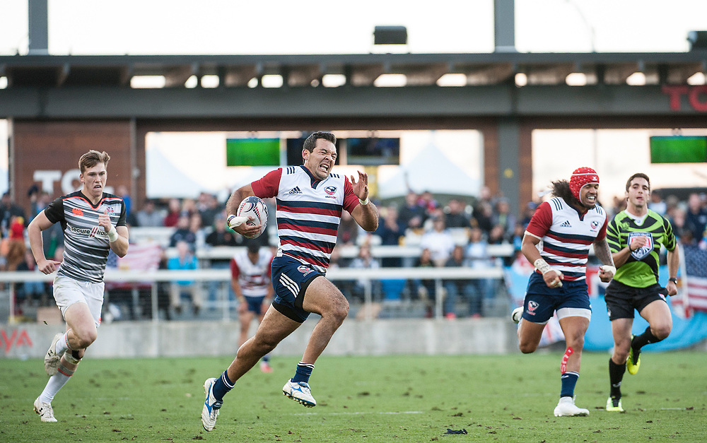 Chris Mattina runs in a try for the United States as the United States beat England to reach the final of of the Silicon Valley Sevens in San Jose, California. November 4, 2017. <br /> <br /> By Jack Megaw.<br /> <br /> <br /> <br /> www.jackmegaw.com<br /> <br /> jack@jackmegaw.com<br /> @jackmegawphoto<br /> [US] +1 610.764.3094<br /> [UK] +44 07481 764811