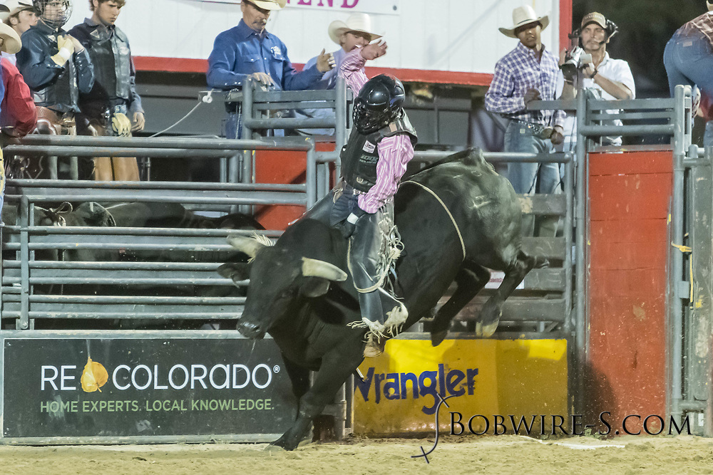Bull rider Jeston Mead rides Summit Pro Rodeo's Body N Soul in the second performance of the Elizabeth Stampede on Saturday, June 2, 2018.