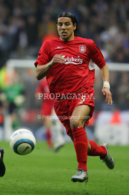 LIVERPOOL, ENGLAND. TUESDAY, MAY 3rd, 2005: Liverpool's Milan Baros in action against Chelsea during the UEFA Champions League Semi Final 2nd Leg at Anfield. (Pic by David Rawcliffe/Propaganda)