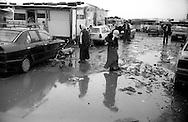 Rome  November  1999.A rainy day, the area of the Romanian Roma , in the Rom's camp  Casilino 700.