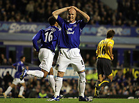 Photo: Paul Thomas.<br /> Everton v Arsenal. Carling Cup. 08/11/2006.<br /> <br /> Andy Johnson of Everton can't believe his luck.