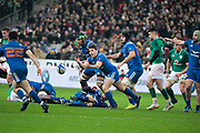 Antoine Dupont (FRA) gave the ball to Anthony Belleau (FRA), Sebastien Vahaamahina (FRA), Geoffrey Palis (FRA) on the floor, Conor Murray (IRL) during the NatWest 6 Nations 2018 rugby union match between France and Ireland on February 3, 2018 at Stade de France in Saint-Denis, France - Photo Stephane Allaman / ProSportsImages / DPPI