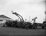 01/04/1960.04/01/1960.01 April 1960.Deutz tractors demonstration team leave on tour of the country. L-R:, Herr Hans Friedl, Deutz Tractor Service Cologne, Mr A.O. Rich Tractor Sales Dept McNeils, Thomas Long, Daniel McEvoy and Jimmy Cunningham the Deutz tractor drivers, Volkswagen, Type 2,