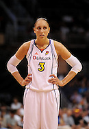 Sep 5, 2010; Phoenix, AZ, USA; Phoenix Mercury guard Diana Taurasi (3) reacts on the court during the first half in game two of the western conference finals in the 2010 WNBA Playoffs at US Airways Center.  Mandatory Credit: Jennifer Stewart-US PRESSWIRE