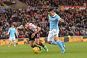 Manchester City forward Sergio Aguero  scores the opening goal during the Barclays Premier League match between Sunderland and Manchester City at the Stadium Of Light, Sunderland, England on 2 February 2016. Photo by Simon Davies.