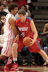 07 December 2013:  Matt Kavanaugh muscles in against Reggie Lynch during an NCAA mens basketball game. The Illinois State Redbirds beat the 25th ranked Dayton Flyers 81-75 in Redbird Arena, Normal IL