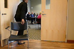 Senators Bob Casey, D-Pa and Tom Carper, D-De join representatives from the community in a closed-door roundtable discussion on the per- and polyfuoroalkyl substances or PFAS pollution crisis in the region, at Horsham Township Library, in Horsham, PA, on April 8, 2019. The health crisis affects tens of thousands of residents in Bucks and Montgomery Counties in Eastern Pennsylvania.