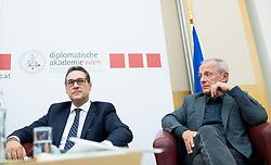 "24.04.2017, Diplomatische Akademie, Wien, AUT, Bürger Salon Podiumsdiskussion mit dem Titel ""Sicherheit in Österreich. Welche Maßnahmen sind politisch umsetzbar?"", im Bild v.l.n.r. Klubobmann FPÖ Heinz-Christian Strache und Abgeordneter und Sicherheitssprecher der Grünen Peter Pilz // f.l.t.r. Leader of the parliamentary group FPOe Heinz Christian Strache and Member of Parliament and Security Speakesman of the greens Peter Pilz during an open forum according to ""safety in austria"" in Vienna, Austria on 2017/04/24, EXPA Pictures © 2017, PhotoCredit: EXPA/ Michael Gruber"