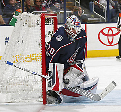 November 7, 2017 - Columbus, OH, USA - Columbus Blue Jackets goalie Joonas Korpisalo (70) makes a save against the Nashville Predators during the second period at Nationwide Arena on November 7, 2017. (Credit Image: © Kyle Robertson/TNS via ZUMA Wire)