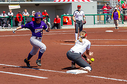 NORMAL, IL - April 06: Allison Spence gets a put out throw ahead of the runner during a college women's softball game between the ISU Redbirds and the University of Northern Iowa Panthers on April 06 2019 at Marian Kneer Field in Normal, IL. (Photo by Alan Look)