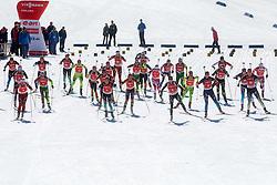 Athletes at start during Women 12.5 km Mass Start competition of the e.on IBU Biathlon World Cup on Sunday, March 9, 2014 in Pokljuka, Slovenia. Photo by Vid Ponikvar / Sportida