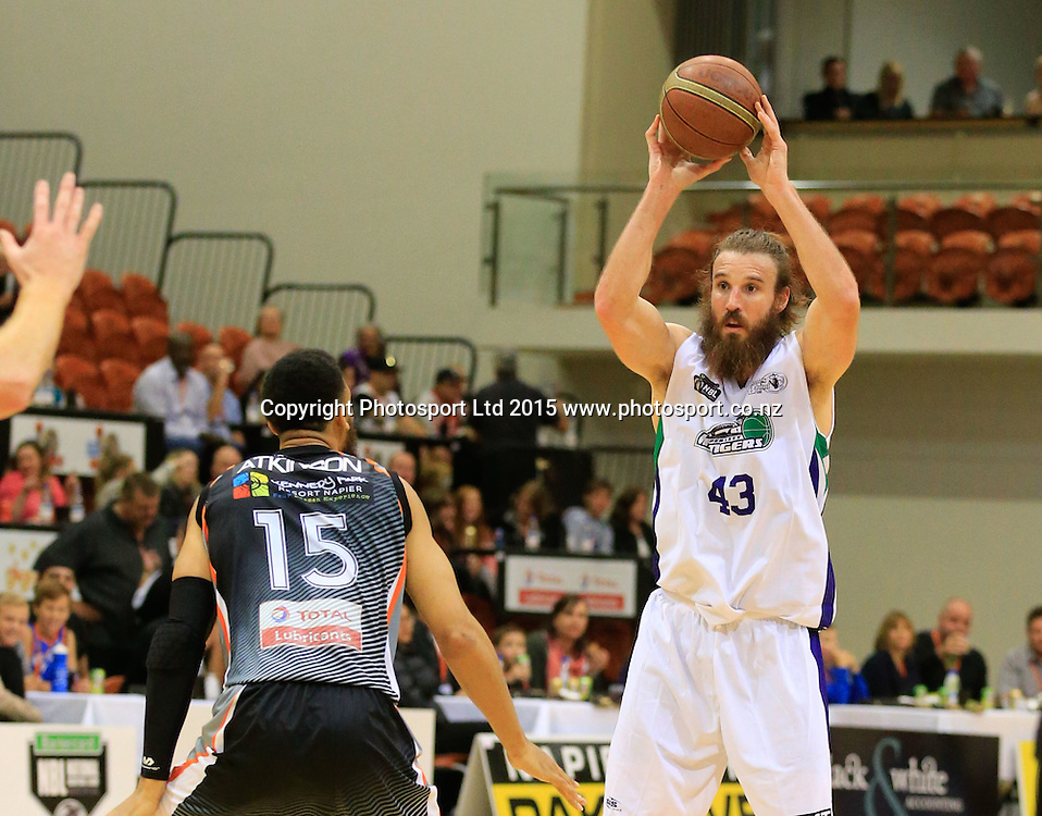 Ranger's Casey Frank. NBL basketball, Hawkes Bay Hawks  v Super City Rangers, PG Arena, Napier, New Zealand. Saturday, 18 April, 2015. Copyright photo: John Cowpland / www.photosport.co.nz