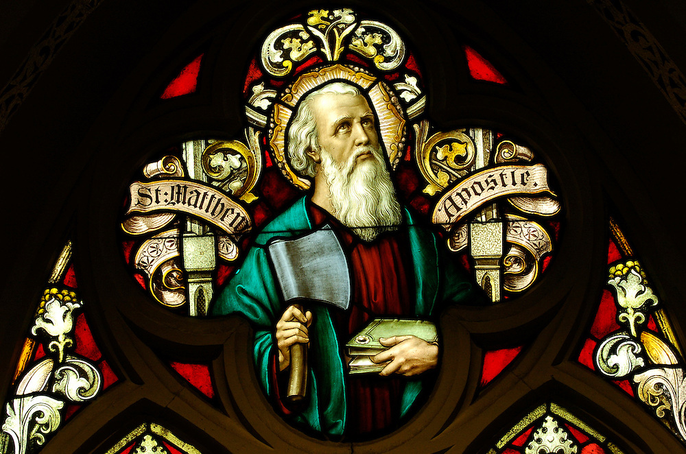 St. Matthew the Apostle is depicted in this stained glass window at St. Francis Xavier Church in Superior.
