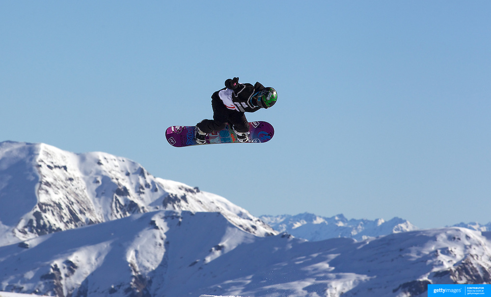 Abby Lockhart, New Zealand, in action during the Snowboard Slopestyle Ladies competition at Snow Park, New Zealand during the Winter Games. Wanaka, New Zealand, 21st August 2011. Photo Tim Clayton