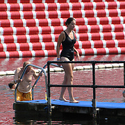 UK Weather: People enjoy swimming at Lido Swimming during the longest Heatwave continues in Hype park, London, UK. July 26 2018.
