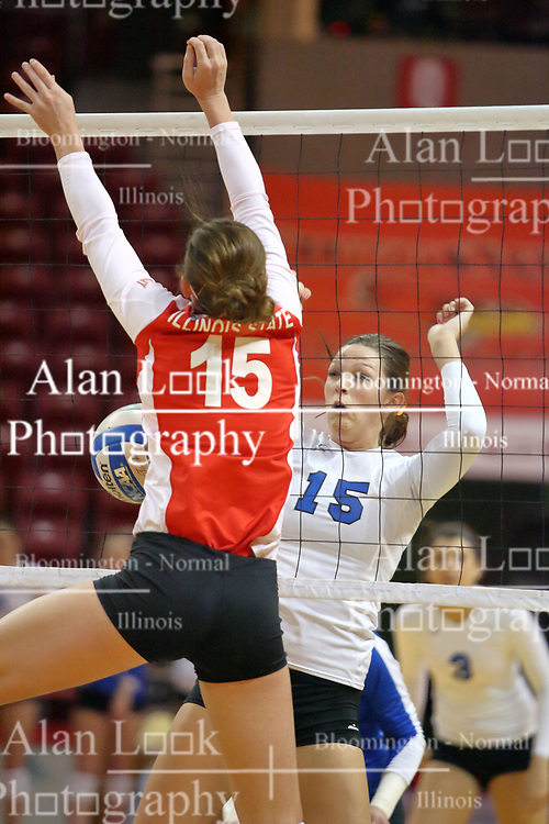 29 October 2011: Natalie Hackbarth wins a battle at the net with Kristin Stauter During a match between the Creighton Bluejays and the Illinois State Redbirds at Redbird Arena in Normal Illinois