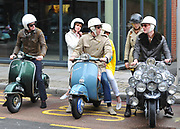 A group of mods with their scooters in London, UK, 2010