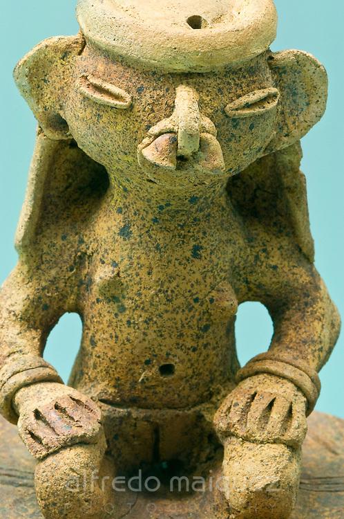 Ceramic figures, Gold museum of Zenu culture, Cartagena de Indias, Bolivar Department,Colombia, South America.