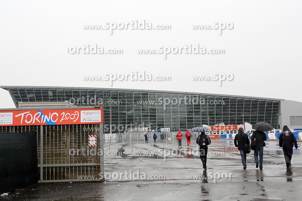 Arena Oval Lingotto from outside at warming up day before European Athletics Indoor Championships Torino 2009 (6th - 8th March), at Oval Lingotto Stadium,  Torino, Italy, on March 5, 2009. (Photo by Vid Ponikvar / Sportida)