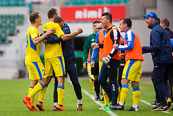Ivan Firer of NK Domzale and other players celebrate during 2nd leg match of 1st Round Qualifications for European League between FC Flora and NK Domzale, on July 7, 2017 on Le Coq Arena, Tallinn, Estonia. Photo by Ziga Zupan / Sportida
