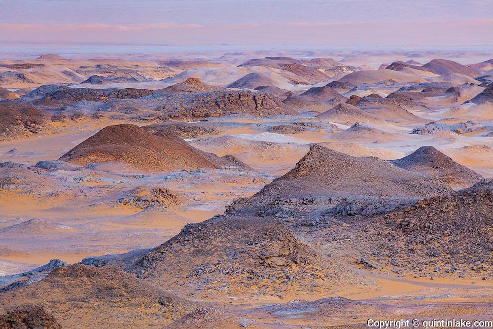 Sahara Suda (Black Desert) the moment after sunset, Egypt