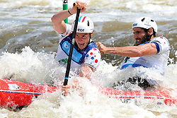 June 2, 2018 - Prague, Czech Republic - Gauthier Klauss and Matthieu Peche of France in action during the Men's C2 finals at the European Canoe Slalom Championships 2018 at Troja water canal in Prague, Czech Republic, 02 June 2018. (Credit Image: © Slavek Ruta via ZUMA Wire)