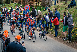 Peloton with Movistar Team and Bahrain Merida Pro Cycling Team leading during the UCI WorldTour 103rd Liège-Bastogne-Liège from Liège to Ans with 258 km of racing at Cote de Pont, Belgium, 23 April 2017. Photo by Pim Nijland / PelotonPhotos.com | All photos usage must carry mandatory copyright credit (Peloton Photos | Pim Nijland)