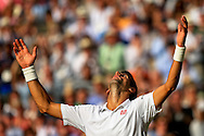 LONDON, ENGLAND - JULY 06: Novak Djokovic of Serbia celebrates winning the Gentlemen's Singles Final match against Roger Federer of Switzerland on day thirteen of the Wimbledon Lawn Tennis Championships at the All England Lawn Tennis and Croquet Club on July 6, 2014 in London, England.